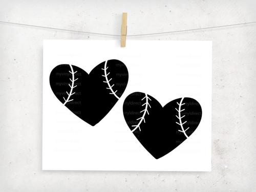 Baseball Heart Digital Cutting File