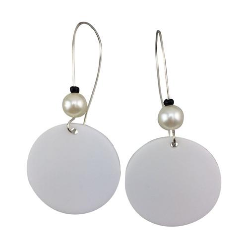 White Acrylic Drop Earrings