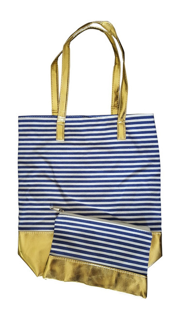 Combo Tote - Navy Stripe & Gold