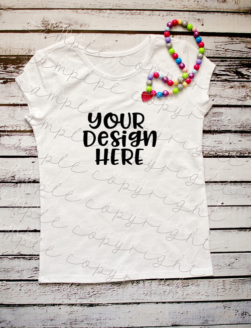 Plain White Short Sleeve Girls With Necklace T Shirt Mock-Up