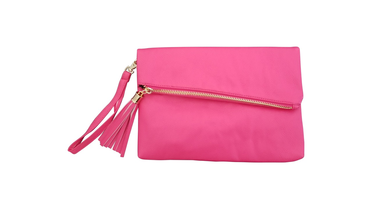 fold over cross body clutch pink