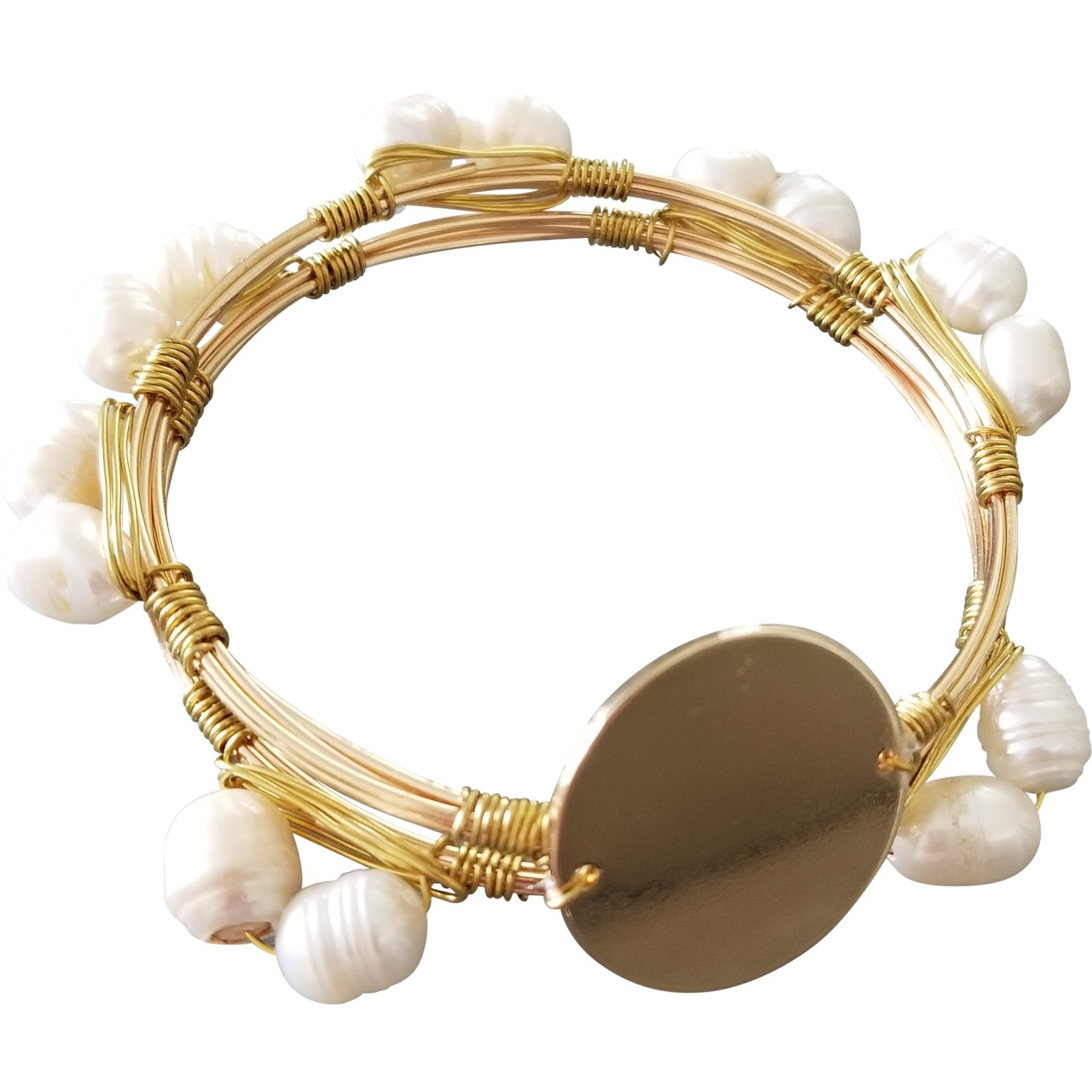 Freshwater Pearl & Gold Wire Bracelet - My Vinyl Direct