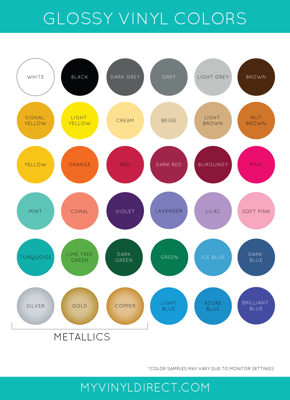 Gloss Vinyl Color Chart My Vinyl Direct