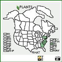 R. atlanticum native range map