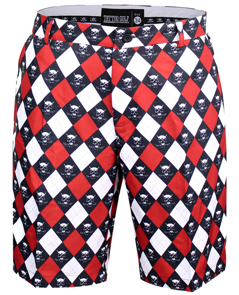 Red Monster argyle golf shorts with Pro Cool Technology for a super-cool and comfortable fit & feel.   Our Golf shorts are also available in black, grey, camo print, multi-color, plaid, electric blue, stripes, and charcoal skulls.