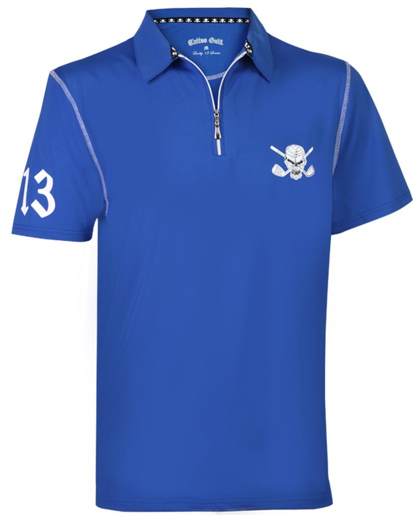 Men's Lucky 13/Red Line Hybrid Performance Golf Shirt (Blue/White)