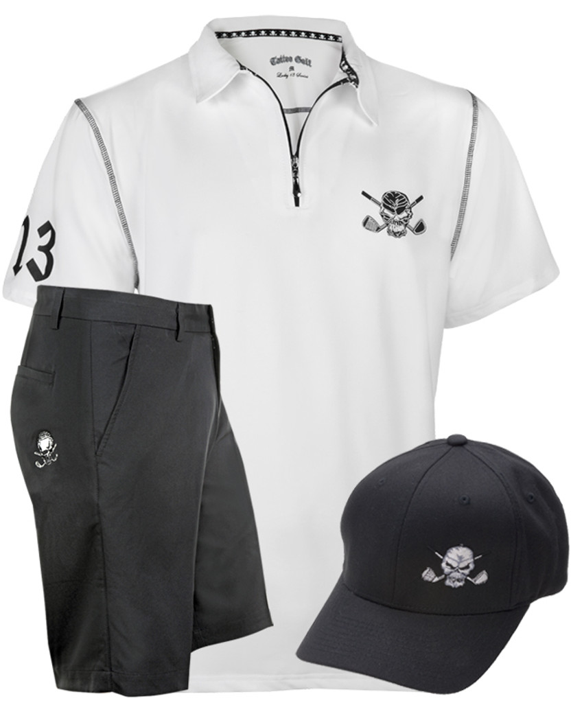 Zipper-pull performance men's golf shirt, ProCool fabric technology golf shorts, and a flexfit fitted golf hat - what a combo!