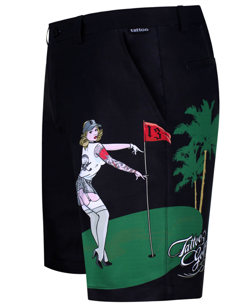 Our favorite Pin Up Girl is back!  Sublimation print golf shorts with Pro Cool Technology for a super-cool and comfortable fit & feel.