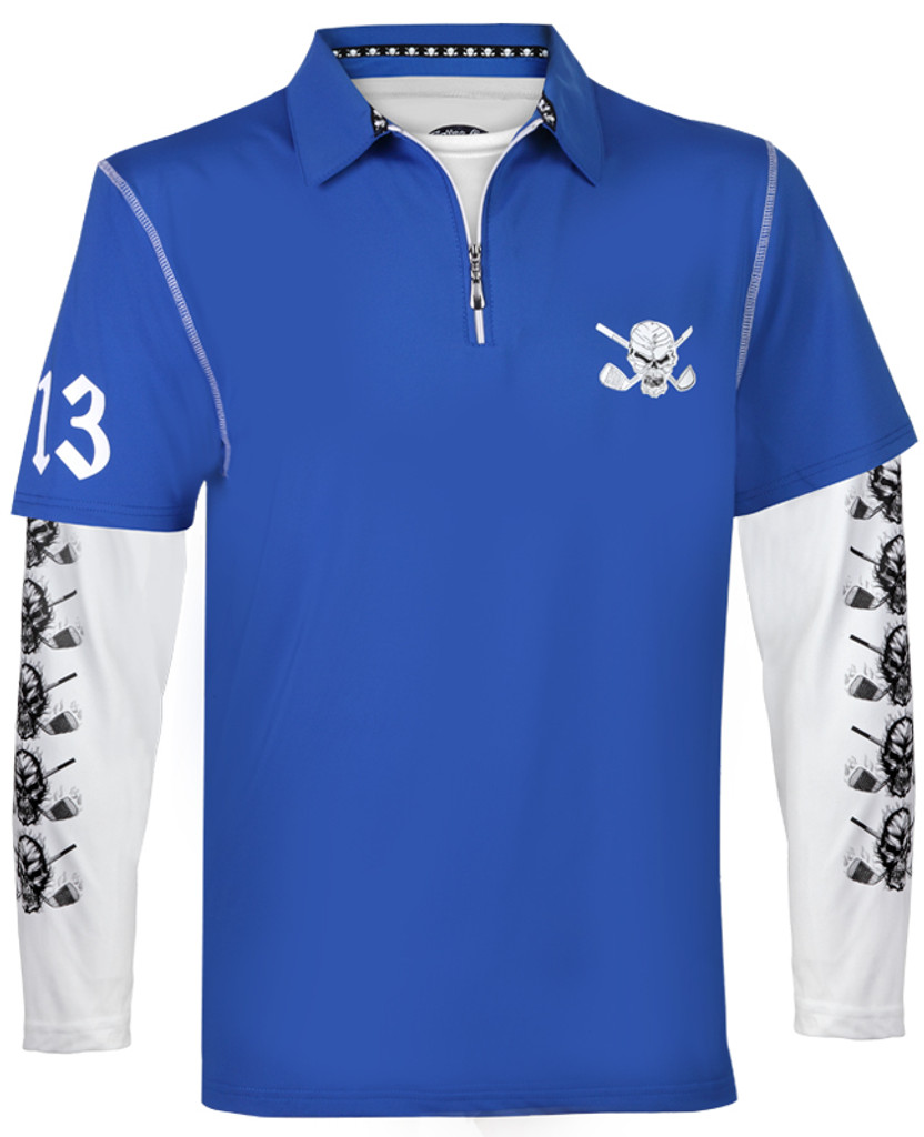 Lucky 13 golf shirt with black performance underlayer shirt - sweet combo!