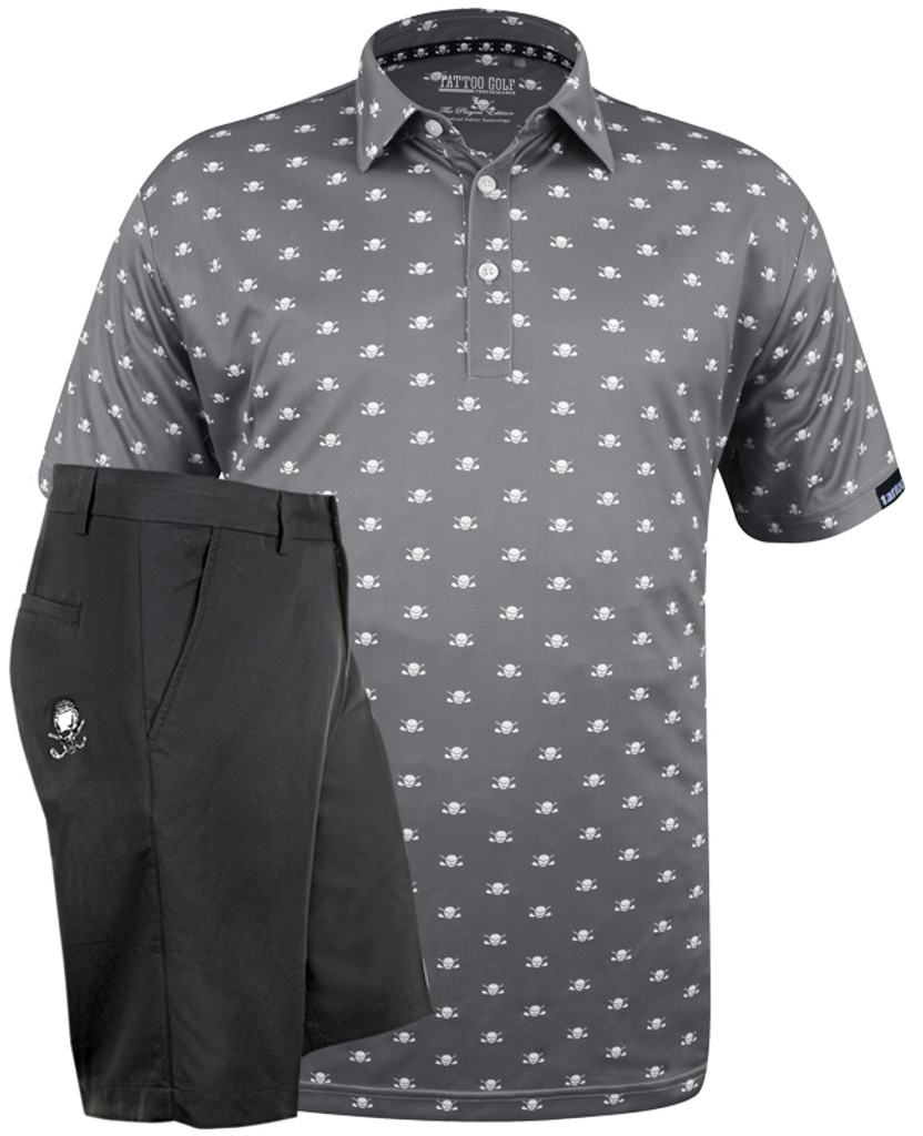 Microskull Lucky 13 Clubhouse Designer men's performance golf shirt with matching men's golf shorts.  ProCool fabric technology on both helps keep you cool and dry all day long.