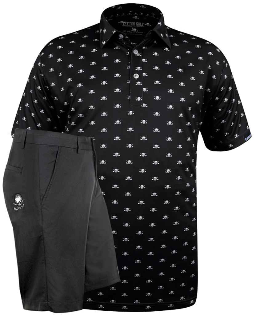 Microskull Lucky 13 Clubhouse Designer men's performance golf shirt with matching men's golf shorts.  ProCool fabric technology on both helps keep you cool and dry all day long.  Also available in grey and purple.