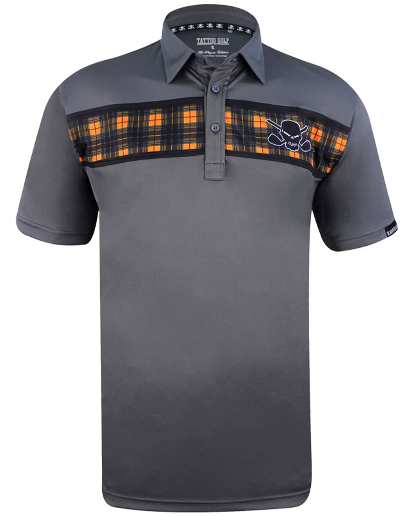 Clubhouse Multicolored skulls men's golf shirt with our ProCool fabric technology to make this men's golf shirt a go-to winner!   Available in sizes S- 4XL and in colors black/multicolored skulls and purple/houndstooth print.