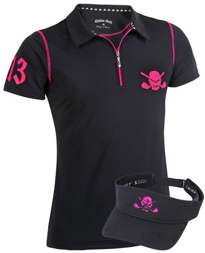 Ladies Lucky 13/Red Line Hybird Golf Shirt & Golf Visor (Black/Pink)