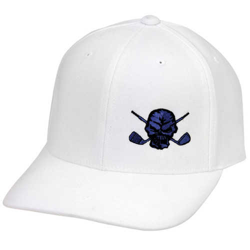 Lucky 13 Small Skull Hat (White/Blue)