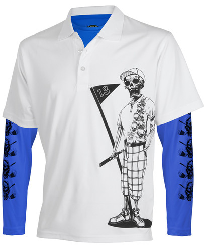 Mr. Bones Men's Golf Shirt & Performance Under Shirt (White/Blue)