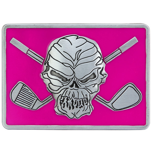"Skull and crossing clubs belt buckle.  Size 3-1/8"" wide x 2-1/4"" high and designed to fit belts up to 1 1/2 in width, Will fit on any belt with snaps.  Pair this up with a women's Lucky 13 pink print Performance Polo shirt or the men's GT pocket polo!"
