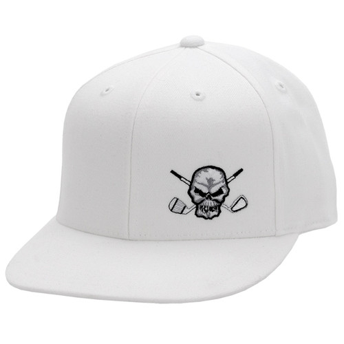 110 Snap Back Flat Brim Golf Hat (White)