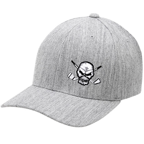 Tattoo Golf Hat Skull Design (Heather Grey)