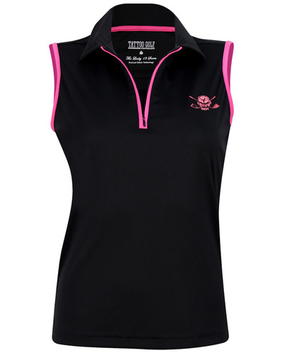 The new sleeveless Lucky 13  women's golf shirt with a zipper - no buttons!   Available in sizes small through 2XL.  Check out the matching golf skort to really make a nice looking golf outfit!