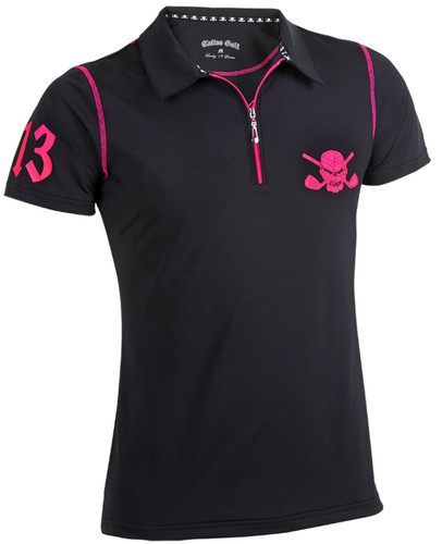 Women's Lucky 13/Red Line Hybrid Golf Shirt (Black/Pink)