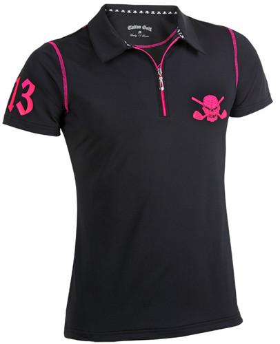 Women's Lucky 13/Red Line Hybrid Golf Shirt (Black/Pink)