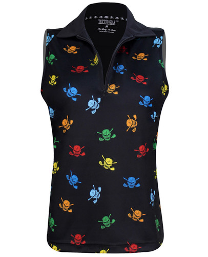 The new sleeveless multi-color Lucky 13  women's golf shirt with a zipper - no buttons!   Available in sizes small through 2XL.