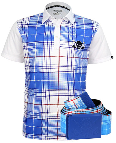 Hazard Men's Polo & Web Belt (White/Blue)