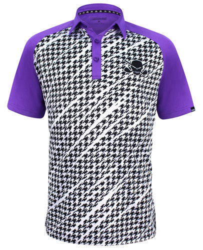 The new Houndstooth golf polo, combining a classic design, some wild graphics, and our ProCool fabric technology to make this men's golf shirt a go-to winner!   Available in sizes small through 4XL and in colors black, purple, and red
