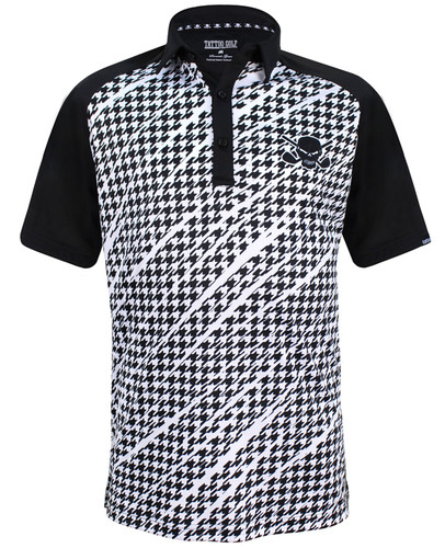 Houndstooth ProCool Men's Golf Shirt (Black)