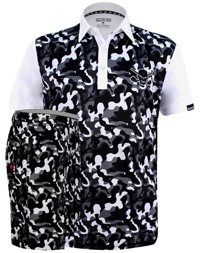 Camo men's performance golf shirt and OB skull golf shorts.  ProCool fabric technology on both helps keep you cool and dry all day long.