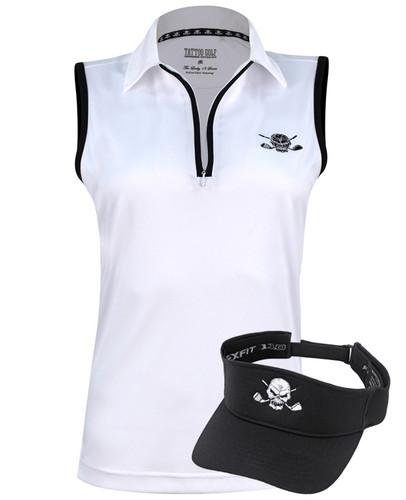 Women's high performance ProCool fabric golf shirt and an adjustable Flexfit golf visor - sweet golf outfit!