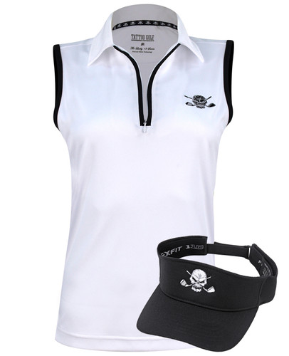 Women's Sleeveless Golf Polo & Golf Visor (White/Black)
