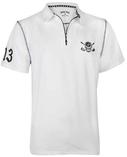 Men's Lucky 13/Red Line Hybrid Performance Golf Shirt (White/Black)