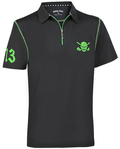 Men's Lucky 13/Red Line Hybrid Performance Golf Shirt (Black/Green)