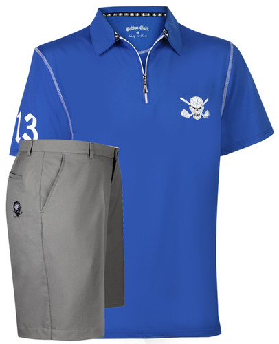 Lucky 13 Hybrid Men's Golf Shirt & Golf Shorts (Blue/Grey)