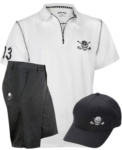 Lucky 13 Hybrid Golf Shirt, Shorts & Hat (White/Black)