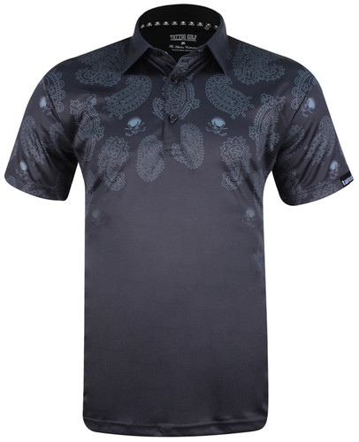 The new Hustler golf polo, combining our twist on a classic paisley design, with our ProCool fabric technology to make this men's golf shirt a go-to winner!   Available in sizes S- 4XL and in colors white, steel, and black