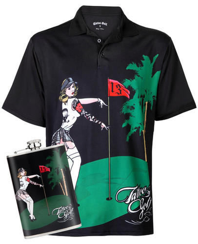 Performance men's golf shirt with matching flask -  two items you just can't go wrong with!