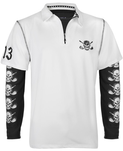 Lucky 13 Hybrid Polo & Under Shirt (White/Black)