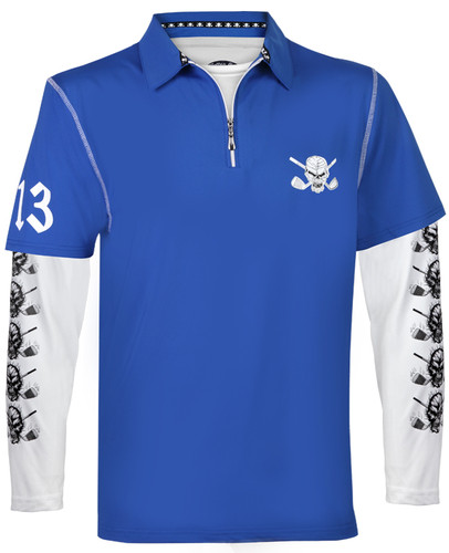 Lucky 13 Hybrid Polo & Under Shirt (Blue/White)