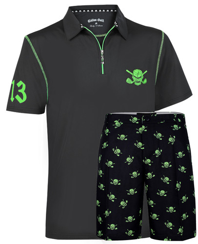 Lucky 13 Hybrid men's golf shirt with grey ProCool golf shorts - what a combo!
