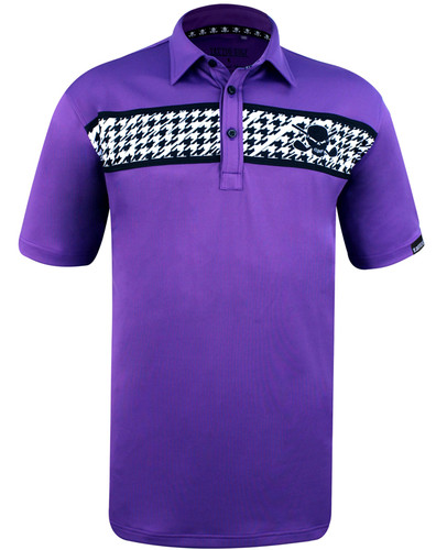 Clubhouse Houndstooth men's golf shirt with our ProCool fabric technology to make this men's golf shirt a go-to winner!   Available in sizes S- 4XL and in colors black/multicolored skulls and grey/orange plaid