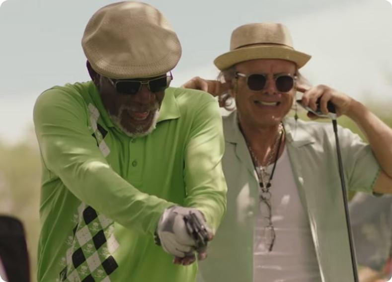 Morgan Freeman Wearing Tattoo Golf Shirts In New Movie