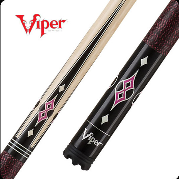 Viper Sinister pool cue with natural tone maple shaft and black butt