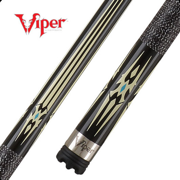 Viper Sinister pool cue with stainless steel joint and butt cap, cream/black