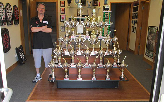 Dart trophies won by Dart Brokers sponsored pro darters