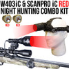 WICKED LIGHTS W403IC & SCANPRO IC RED NIGHT HUNTING LIGHT AND HEADLAMP COMBO KIT FOR COYOTE, FOXES, VARMINTS, HOGS, AND PREDATORS (RED)