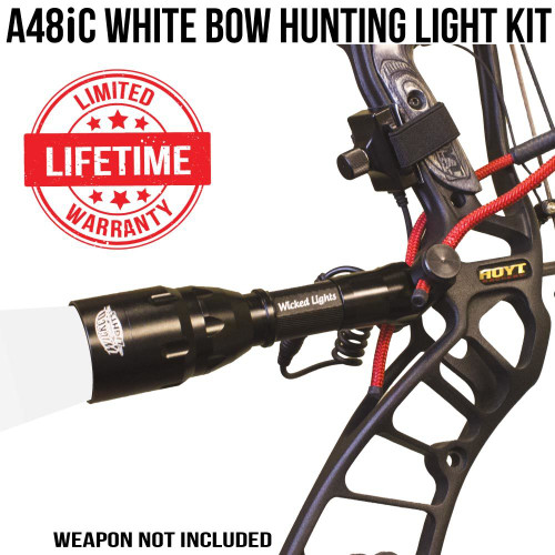 Wicked Lights A48iC White Bow Hunting Light Kit For Night Hunting Coyotes, Hogs, and Bow Fishing