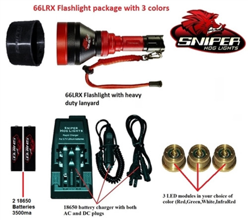 66LRX Flashlight package with 3 colors