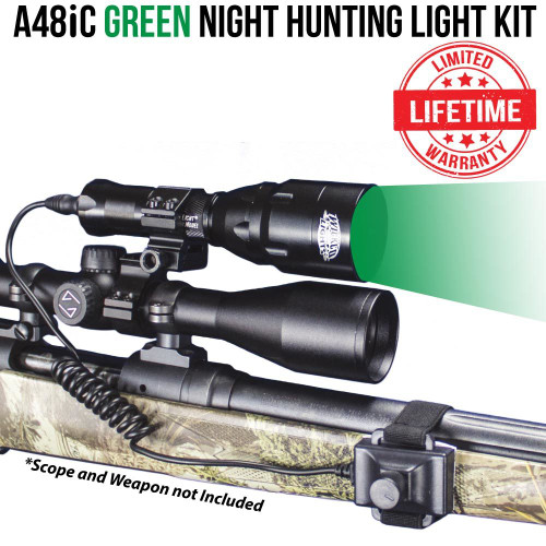 Wicked Lights A48iC GREEN Night Hunting Light Kit for Coyote, Hog, Fox, Bobcat, Varmint